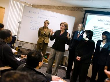 City Council Speaker Christine Quinn address students at the Upper Manhattan Workforce Career Center Tuesday.
