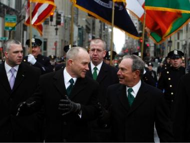 Police Commissioner Raymond Kelly  and Mayor Michael Bloomberg march up Fifth Avenue in the St. Patrick's Day Parade on March 17, 2007 in New York City.