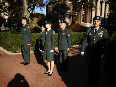 Jose Robledo, far right, is a Columbia University sophomore who commutes to Fordham to participate in ROTC.