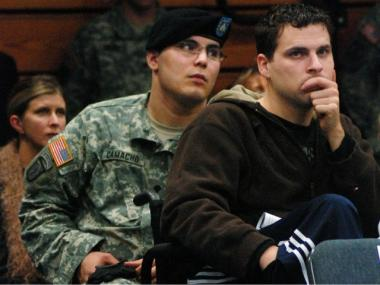 Iraq War veteran, Anthony Maschek (R.), shown in 2008, was booed by his fellow Columbia University students at a Town Hall meeting over the ROTC last week.