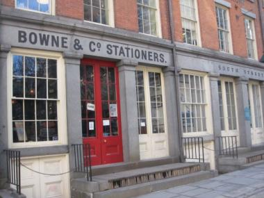 The Bowne & Co. Stationers shop and exhibit is supposed to be open seven days a week but was closed on Tuesday.