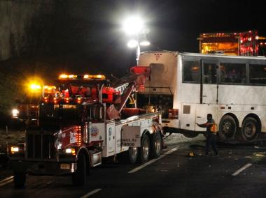 Two people were killed and 40 passengers were taken to nearby hospitals with injuries after a Chinatown tour bus crashed on the New Jersey Turnpike.