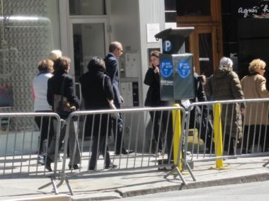 Matt Lauer leaving Geraldine Ferraro's wake on Tuesday.