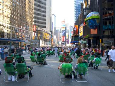 The Times Square pedestrian plaza.