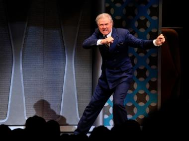 Actor John Larroquette at curtain call during the Broadway opening of