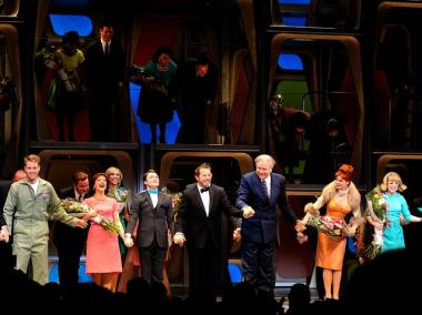 Actors Daniel Radcliffe, John Larroquette and cast during curtain call for the Broadway opening of