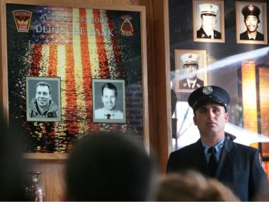 A 2007 photo memorial to fallen firefighters Robert Beddia (left photo) and Joseph Graffagnino (right photo).