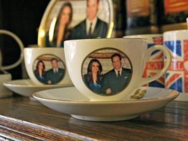 The ultimate royal merchandise is a tea cup featuring the faces of Will and Kate, the prince and future princess.