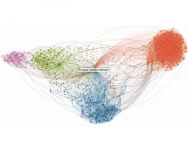 A visualization of the writer's wife's LinkedIn connections, using the new InMaps feature on LinkedInLabs.com. Each color represents connections from a specific company/school - and another part of her professional life.