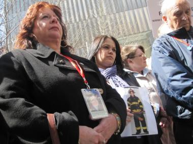 From left to right: Maureen Santora, Patricia Cardona and Alexander Santora at a 9/11 Families conference Sunday calling for the 9/11 Memorial and Museum to create a different burial site for unidentified remains.