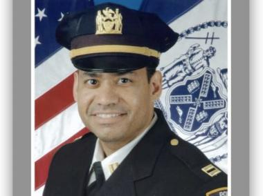 Captain Jose Navarro was dragged by a motorcycle while trying to apprehend two men riding the bike on a sidewalk in Washington Heights.