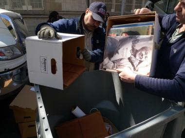 Upper West Siders unloaded paper trash at P.S. 166's communal shredding event on Thursday.