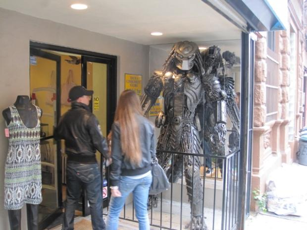 predator draws stares at east clothing store east