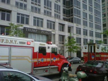 Firefighters arrive at Trump Place after an insecticide problem spewed nasty fumes through the plush highrise