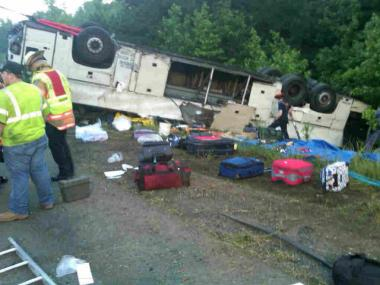 Wreckage of the Chinatown-bound bus that crashed in Virginia on May 31, killing four passengers.