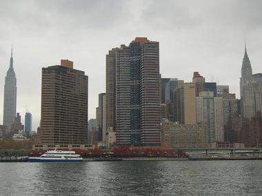 An image of the East River waterfront from 2007 with the SeaStreak ferry seen at the East 34th Street pier.