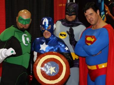 Comic fans dress as superheros for Comic Con.