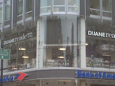 The Duane Reade video billboard was dark on Sunday, and the company said it will remove the sign.