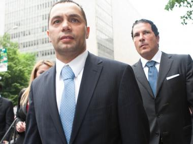 Kenneth Moreno (L) and Joseph Tacopina (R) leave Manhattan Supreme Court, May 26, 2011.