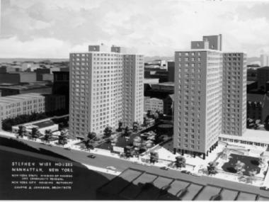 A rendering of Wise Towers, the public housing development built during urban renewal on the Upper West Side.