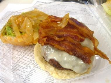 Island Burgers and Shake's Tijuana burger comes with bacon, guacamole, jack cheese and onions.