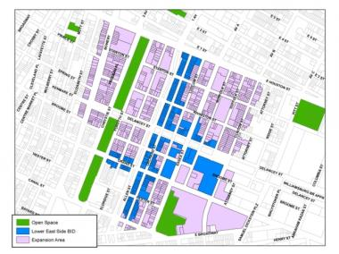 A map showing the LES BID's current boundaries and proposed expansion area.