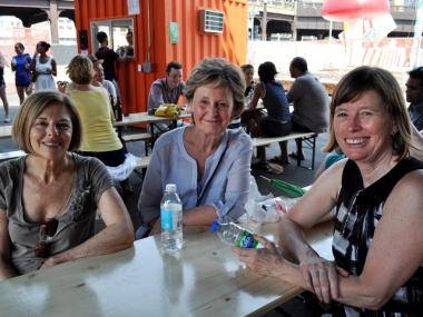Marilyn Siegel, 64, Marg Brown, 58, and Donna Welensky, 70, took a break from walking the Highline at the Lot on Tap.