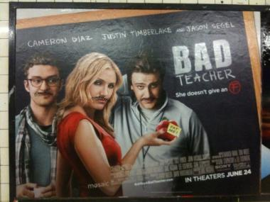 Cameron Diaz and her co-stars Justin Timberlake and Jason Segel were tagged by a moustache graffiti tag on a subway ad poster.