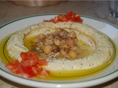 The hummus from Moustache, which has locations in the East and West Villages and East Harlem.