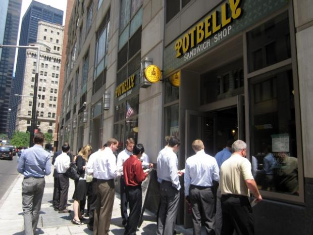 New york 39 s first potbelly sandwich shop draws crowds on for 111 maiden lane salon