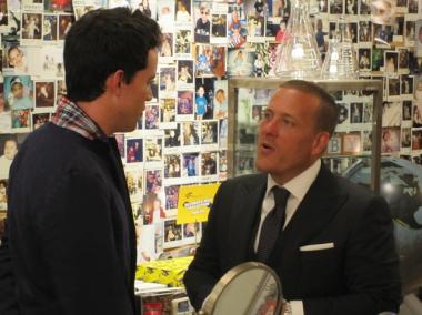 Schuman chats with one of the many fans who came to visit him at Kiehl's in the East Village.