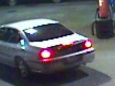 This is the getaway car used by a thief who robbed two gas stations in Upper Manhattan.