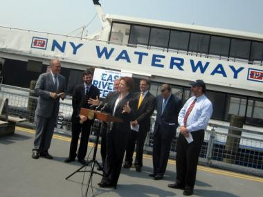Council Speaker Christine Quinn and other officials gathered on Pier 11 to announce that the new East River ferry service will begin with free rides starting June 13.