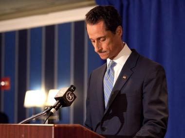Rep. Anthony Weiner (D-NY) admits to sending a lewd Twitter photo of himself to a woman and then lying about it during a press conference at the Sheraton Hotel on 7th Avenue on June 6, 2011 in New York City.