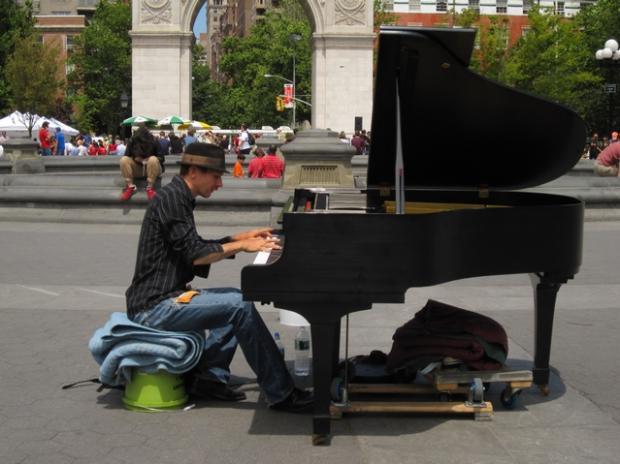 Crazy Piano Guy Brings Baby Grand To Washington Square