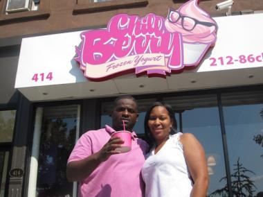 Jason and Tiffany Martin outside of their new store Chill Berry on Lenox Avenue.