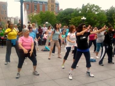 New Yorkers dance the pounds away with a Zumba class in Washington Square Park as part of the BeFitNYC Festival Sunday.