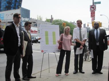 Representatives of Transportation Alternatives and the Drum Major Institute for Public Policy gathered at the intersection of Essex and Delancey streets with those who have lost loved ones to traffic crashes, to push more street safety improvements.