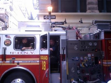 Firefighters rescued a man who had fallen onto the subway tracks at the Fulton Street A train Station Thursday afternoon.