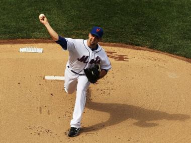The Mets' Dillon Gee hurls one from the mound during the second game of the Subway series.