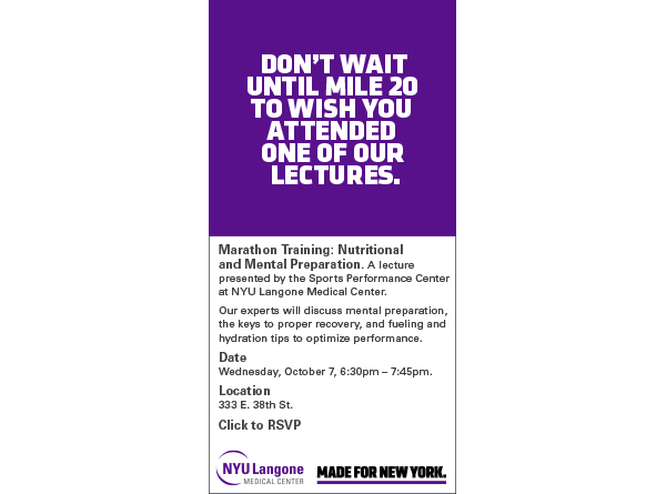 Marathon Training Lecture by the Sports Performance Center at NYU Langone