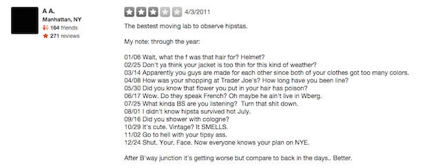 L train Yelp reviews annoyance diary