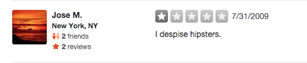 L train Yelp reviews I despise hipsters