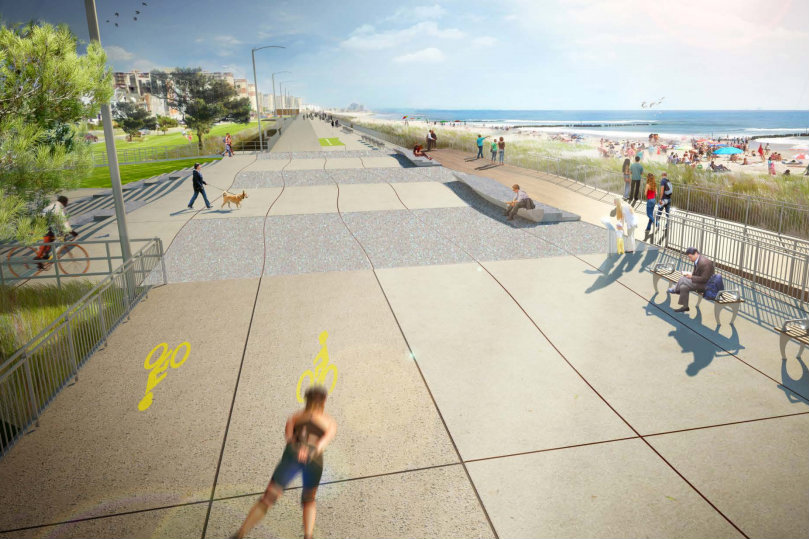 Bike Lane Markers Missing From Rebuilt Rockaway Boardwalk