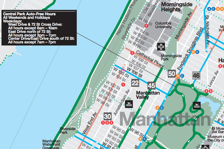 CarFree Hours In Central Park Listed Incorrectly On City Bike Map - Central park on east 72nd street
