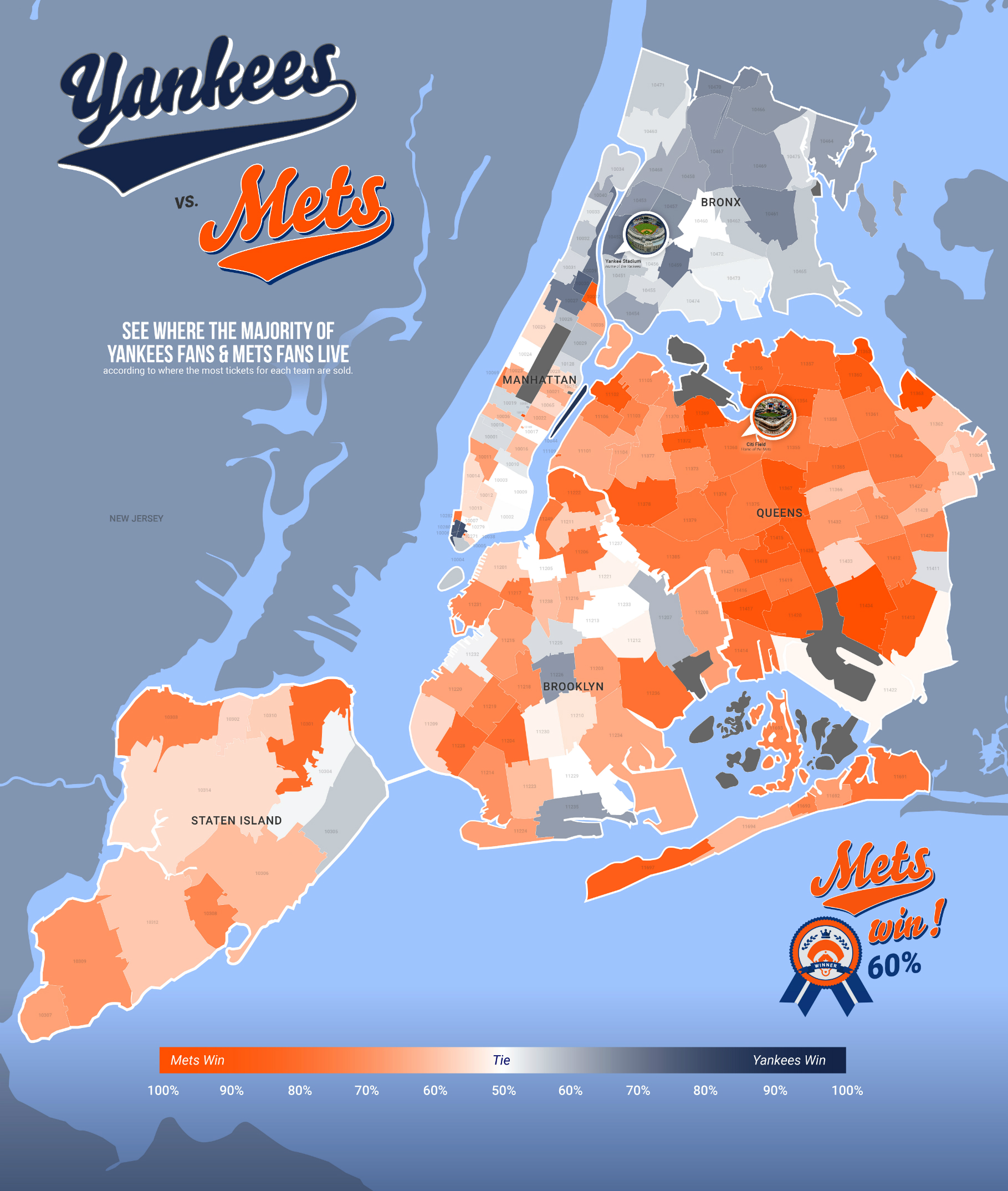 Map See Where Mets And Yankees Fans Live In The City