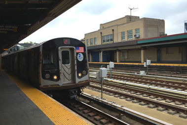 The F train at Fourth Avenue and Ninth Street in Park Slope.