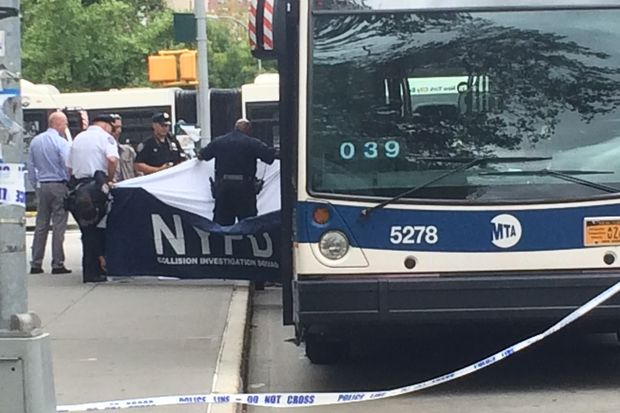 A 73-year-old woman was fatally struck by an MTA bus at the corner of East Houston and Columbia streets Tuesday morning, the NYPD said.