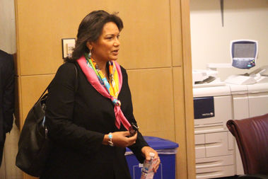 IPRA Chief Administrator Sharon Fairley arrives for Tuesday's joint City Council committee hearing.