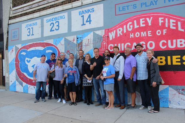 The mural, by Tony Passero and Jerry Rogowski, pays homage to Wrigley Field and the Cubs Hall Of Famers.